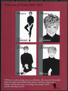 Liberia MNH S/S 1342 Diana Princess Of Wales 1998