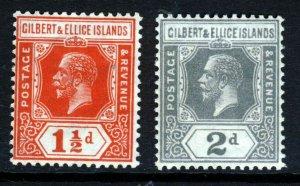 GILBERT & ELLICE ISLANDS KG V 1922 Die II Wmk MSCA 1½d. & 2d. SG 29 & SG 30 MINT