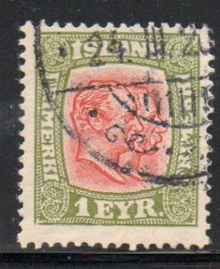Iceland  Sc 99 1915 1 eyr 2 Kings stamp used