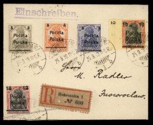Germany 1919 WWI Poland Provisional Inowroclaw Hohensalza Cover 92903