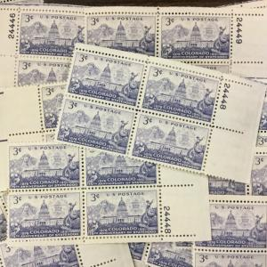 1001     Colorado Statehood.   25 mint 3¢ Stamp Plate Blocks.   Issued In 1951.