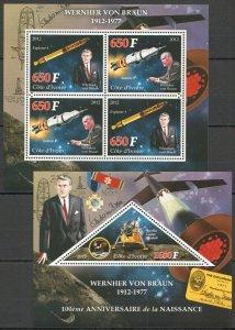 PE889 2012 IVORY COAST SPACE 100TH ANNIVERSARY WERNER VON BRAUN KB+BL MNH