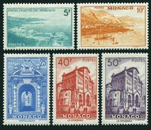 Monaco 228-232,lightly hinged.Michel 385/393. Scenic 1949,Panorama,Harbor,Palace