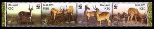 Malawi WWF Puku Strip of 4v SG#1013-1016 MI#721-724 SC#714 a-d