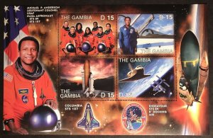 Gambia MNH S/S Space Shuttle Nasa Columbia Lt. Colonel Michael Anderson 2003