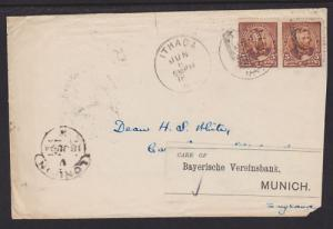 US Sc 223 pair on 1894 Forwarded Cover Ithaca, NY to Munich