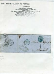 FRANCE Early Incoming LETTER/COVER 1857 fine used item Brussels - Marseille