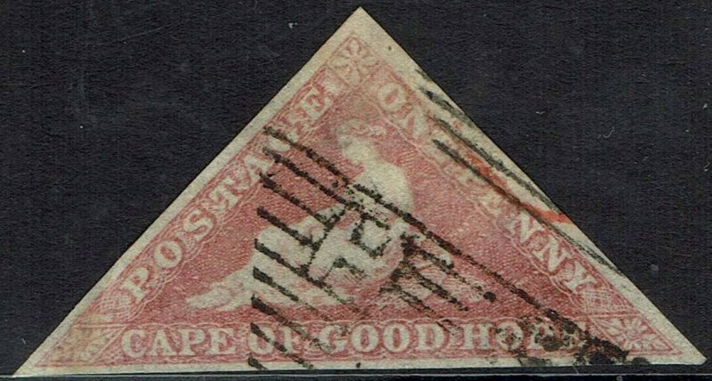CAPE OF GOOD HOPE 1855 TRIANGLE 1D PERKINS BACON PRINTING USED