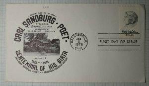 US FDC Sc# 1731 Carl Sandburg Poet Galasburg Philatelic Society 1978