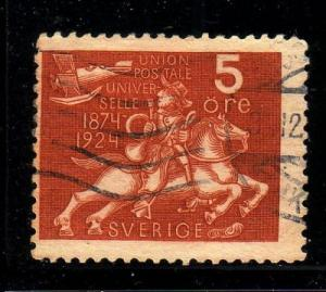 Sweden Sc 213 1924 5 ore Postrider airplane stamp used