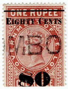 (I.B) Ceylon Telegraphs : 80c on 1R OP