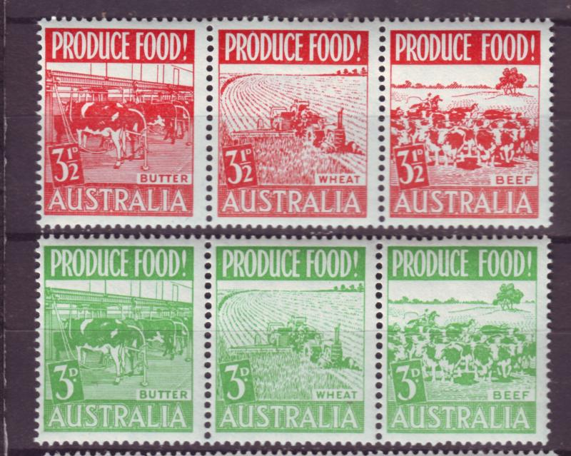 J16485 JLstamps 1953 australia strips of 3 set mnh #252a-5a farming