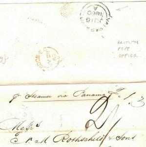 CHILE BRITISH POST OFFICE *Valparaiso*CDS Transatlantic GB Via Panama 1860 GI325