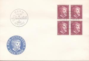 Switzerland 1952 Pro-Juventute Complete Blocks of Four First Day Covers  Pristin