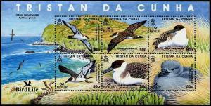 HERRICKSTAMP TRISTAN DA CUNHA Sc.# 808 Birdlife International 2007 M/S of 6