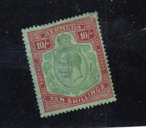 BERMUDA  # 96a VF-USED 10sh TINY PERF THIN KGV/DP RED & PALE GRN / CAT VAL $350
