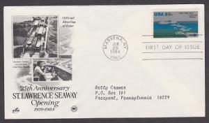 2091 St Lawrence Seaway ArtCraft FDC with neatly typewritten address