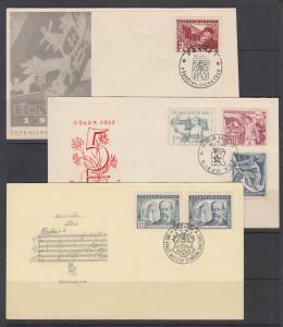 Czechoslovakia Sc 372/387 FDCs. 1948-49 cacheted & unaddressed FDCs, 3 diff