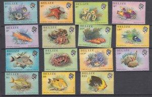 J28639, 1984 belize set mnh #699-714  no 2$ #712 marine life