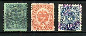 Colombia 1892 National Arms 1P, 5P and 10P sg161/4 (3v) VFU Stamps