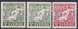 Sweden #348-50 F-VF Unused CV $5.10 (Z5247)