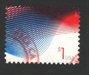 4953 Patriotic Wave Postage Single Used Off Paper FREE SHIPPING