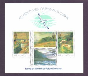 Tristan da Cunha  #212a  1976  MNH paintings sheet Svensson 1st