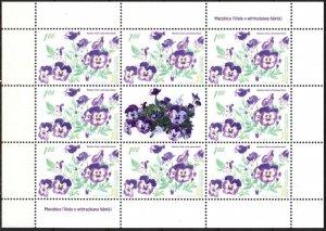 Bosnia 2009 Flora Flowers Pansy Sheet of 8 MNH