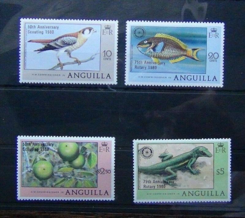 Anguilla 1980 Anniversaries set Scouts Rotary MNH