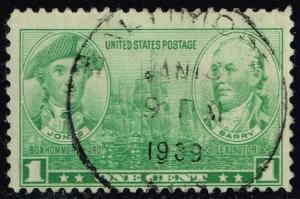 US #790 John Paul Jones and John Barry; Used (0.25)