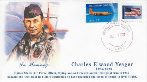 20-300, 2020, Chuck Yeager Memorial Cover, Event Cover, Local Postmark, Seneca