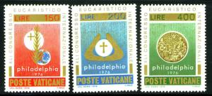 VATICAN Scott 592-4 MNH** 1976 Eucharist set CV$.85