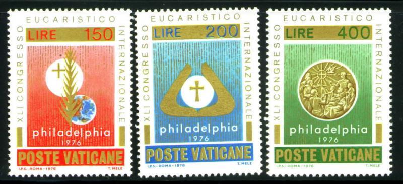VATICAN Scott 592-4 MNH** 1976 Eucharist set CV$.85
