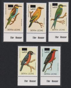 Sierra Leone Birds 5v overprint Bottom Margins with imprints RARR MI#5013-5017