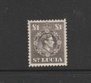 St Lucia 1938/48 GV1 Defs £1 MM SG 141