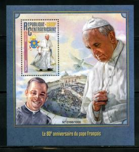 CENTRAL AFRICA 2016 80th BIRTH ANNIVERSARY OF POPE FRANCIS  S/S  MINT NH
