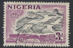 Nigeria SG 73a SC# 84 Die Ia Used  QEII 1953 Jebba Bridge River Niger  see scan
