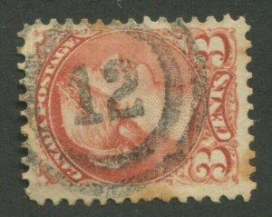 CANADA #37 USED SMALL QUEEN 2-RING NUMERAL CANCEL 12