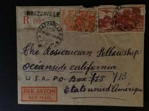 1950 Brazzaville Congo AEF to Oceanside California USA Missionary Airmail Cover