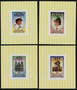 Central Africa C457-60 deluxe sheets MNH Prince Charles, Princess Diana Wedding