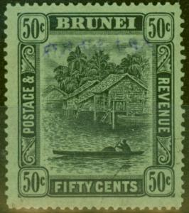 Brunei 1942 Jap Occu 50c Black-Emerald SGJ16 V.F.U Signed MDR in Pencil