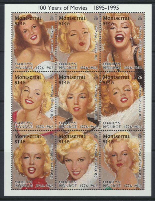 Montserrat sheet  of 9 SG 956a SC#860 Marilyn Munroe 100 years of movies 1995