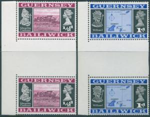 Guernsey 1969 SG13-14b Views gutter pairs MNH