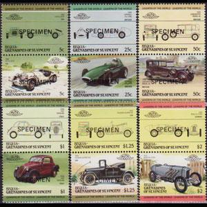 ST.V.BEQUIA 1985 - Scott# 88-122 Cars Specimen Set of 12 NH