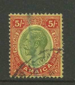 JAMAICA 1912/20 Sg 67, 5/- Green & Red/Yellow, Fine used. {B9-70}