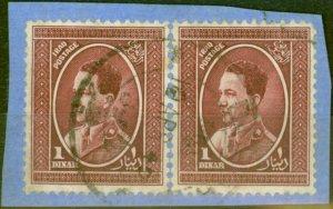 Iraq 1934 1d Claret SG189 Fine Used Pair on Piece