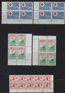CANADA - PLATE & CORNER BLOCKS LOT #1 MNH CHRISTMAS NARWAL LABOUR RED CROSS QEII