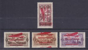 Lebanon Sc C21-C24 MLH. 1928 red overprints on Air Mails of 1927, cplt set, VF