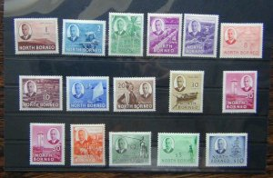 North Borneo 1950 - 1952 set to $5 MM SG356 - SG370