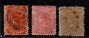 $Tasmania Sc#71c-73 used, fine, complete set, Cv. $88.50